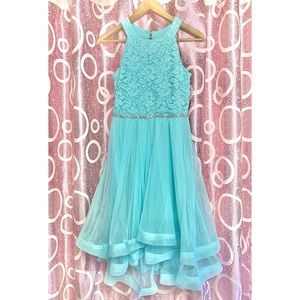 Teal High-Low Prom Dress